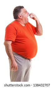 Portrait of a hungry overweight man isolated on white background