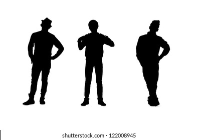 Portrait illustration of three young male models on white background