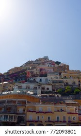 A portrait image of the buildings built on the mountain in Positano, Amalfi Coast, Italy