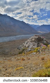 A portrait image of the Key Monastery,a Tibetan Buddhist monastery loacated near Kaza City in the Spiti valley region of Himachal Pradesh, India