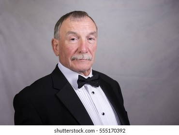 Portrait image of a mature man in a suit and bow tie. Taken on a grey background with copy space.