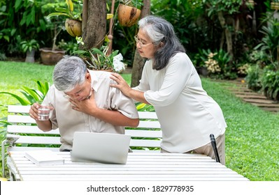 Portrait images of Asian elderly couple, Attractive wife taking care of husband Who suffers from water choking, while using a computer on a table in a green garden.