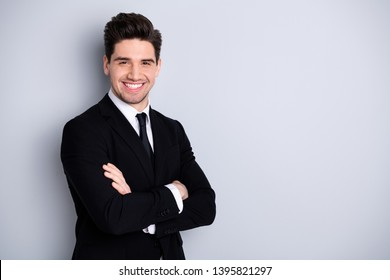 Portrait of independent lawyer ready for work project feel content glad  ceo specialist  successful leader leadership enjoy excited have fun wear modern classic clothing isolated on grey outfit