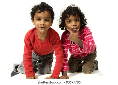 portrait of indian children on a white background