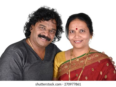 Portrait of Indian Couple on White Background