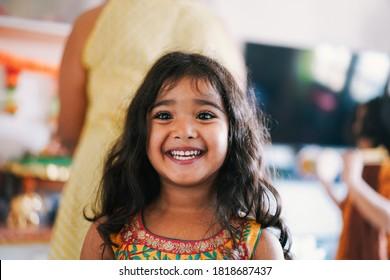 Portrait of indian female kid wearing sari dress - Focus on nose