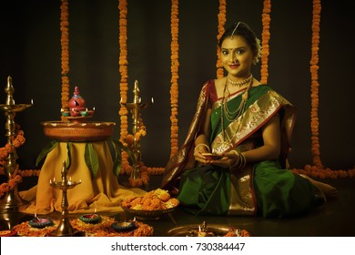 Portrait of Indian Lady in traditional Indian Style Celebrating Festival of Light called Diwali