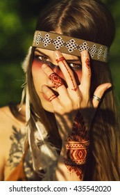 portrait of indian native american woman. pocahontas. American Indian with mehendi