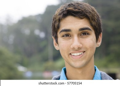 Portrait of an Indian Teen Boy Smiling Directly To The Camera