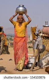 Portrait of an Indian woman, Pushkar, Rajasthan, India.