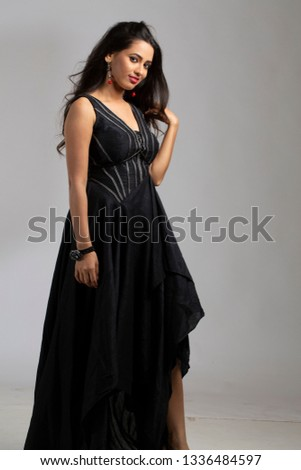 2e48799e00 Portrait Indian Woman Wearing Black Dress Stock Photo (Edit Now ...