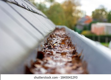 A portrait of inside of a clogged roof gutter filled with water and autumn leaves. The water cannot run away, this is a typical chore in or after autumn when all leaves have fallen.