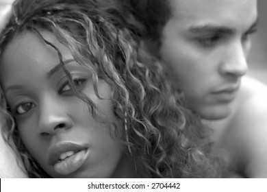 portrait of interracial couple in black and white