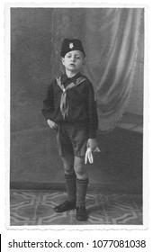 Portrait of italian fascist boy in 1934
