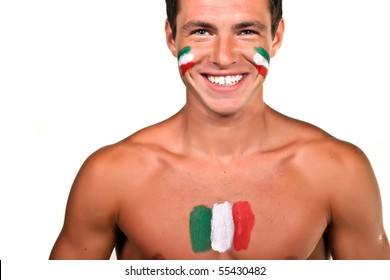 Portrait of an italian football fan with flag on his body and face, isolated on white