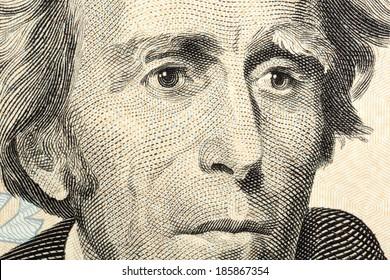 Portrait of Jackson macro from one twenty dollars bill