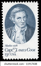 Portrait of James Cook on a stamp