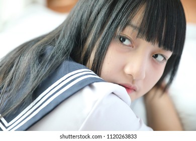 Portrait japanese school in white tone bed room
