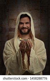 Portrait of Jesus smiling and holding a ancient Jewish oil lamp
