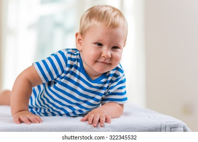 Portrait of joyful little boy