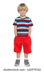 A portrait of a joyful little boy on the white background