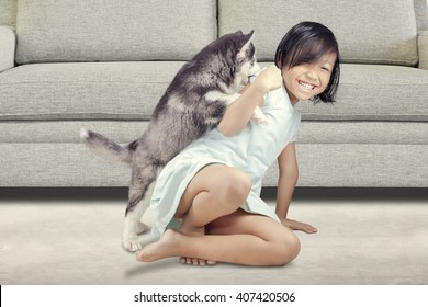 Portrait of a joyful little girl having fun with siberian husky puppy on the floor at home