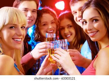 Portrait of joyful people celebrating birthday