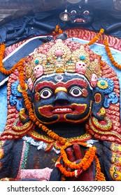 Portrait of Kaal Bhairab from Kathmandu Durbar Square, Nepal.