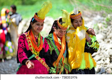 Portrait of Kalash tribe girls in national costume at Joshi festival - 14-05-2016 Bumburet valley ,Kalash , Pakistan.