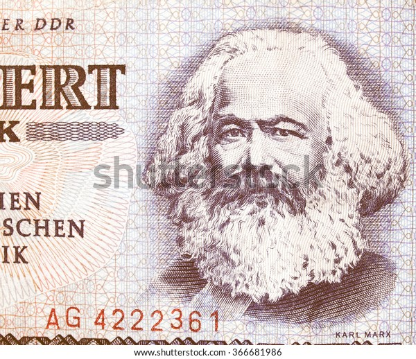 Portrait of Karl Marx on an East German banknote - money no more in use since the reunification of germany in 1991 vintage