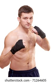 Portrait of a kick boxer isolated on white