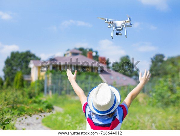 Portrait Kid Quadcopter Drone Outdoors Happy Stock Photo (Edit Now