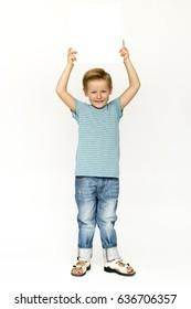 Portrait of kid studio shoot on white background