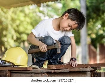 portrait kids carpenter concept