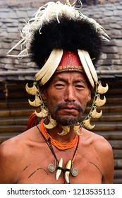 Portrait of a Konyak Naga Tribe during Hornbill Festival in Kohima, Nagaland, India.