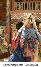 Portrait of Lama in the Sacred Brass Mask of Dakini at Hemis Monastery, Tse Chu Festival. HEMIS, Ladakh Region,  JAMMU AND KASHMIR, INDIA. Jun 17, 2005