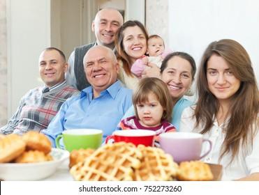 Portrait of large happy multigeneration family