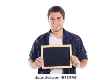 Portrait of latin man holding chalkboard. Isolated white background.
