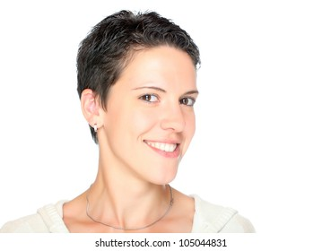 Portrait of a laughing healthy woman with short hair.