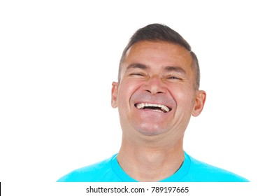 Portrait of laughing man on white background