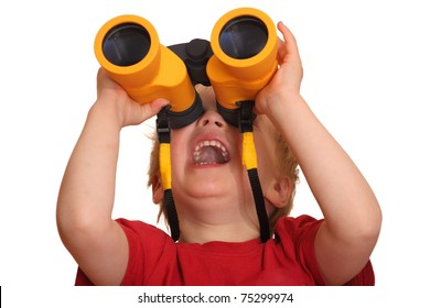 Portrait of a laughing young boy with binoculars