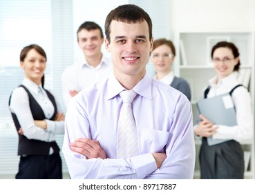 Portrait of leadership on business team background