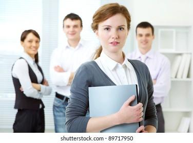 Portrait of leadership on business team background