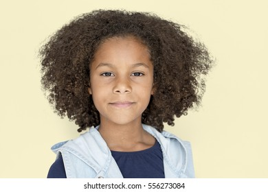 Portrait of a Little African Descent Girl Isolated