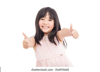 Portrait of little asian beautiful and confident girl showing thumbs up isolated on white background