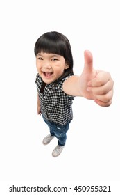 Portrait a little Asian beautiful and confident girl showing thumbs up isolated on white with Clipping path.