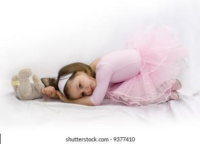 Portrait of little beautiful ballerina