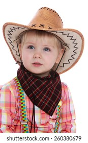 portrait of a little blonde in a cowboy hat, close-up - isolated on white.