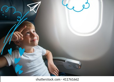 Portrait Little Boy Airplane Seat Window Drawing Travel Holiday Concept