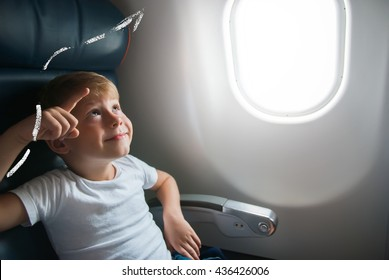 Portrait Little Boy Airplane Seat Window Drawing Sketch Line Up Travel Holiday Concept